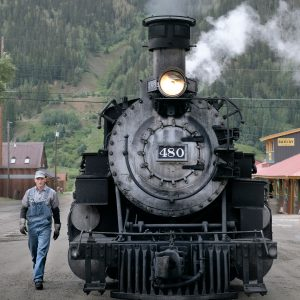 Durango Silverton train conductor and locomotive