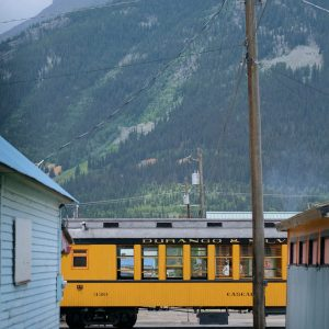 Train parked in downtown Silverton, Colorado