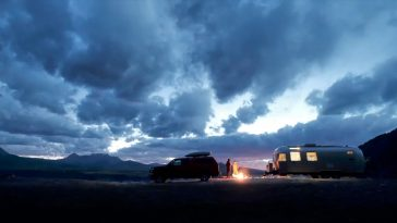 Airstream camping with a campfire near Telluride, Colorado.