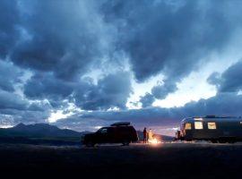 Airstream camping with a campfire near Telluride, Colorado.