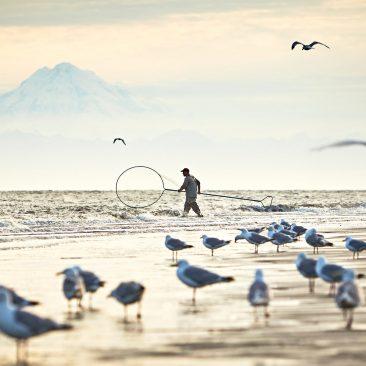Dip net fishing in Alaska.