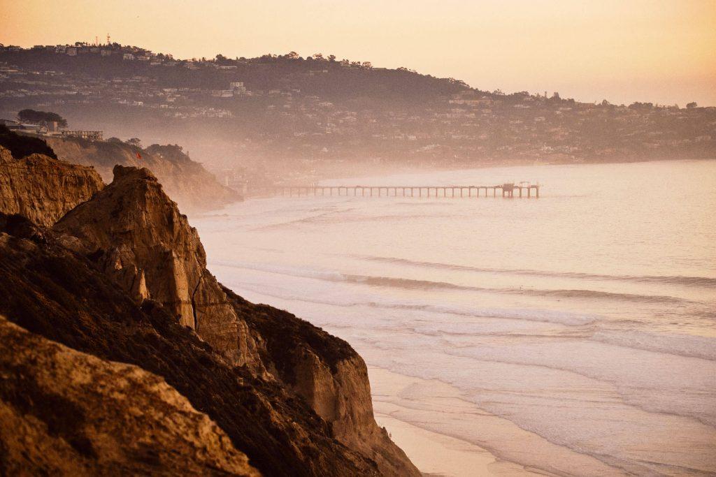 Scripps Pier and La Jolla Cove at twilight in San Diego, CA